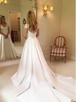 Sweetheart Short Sleeve A Line Wedding Dresses | Applique Backless Bridal Gown_2