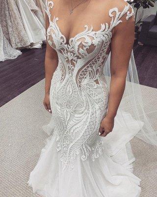 Sexy Jewel Nude Sheer Bodice Cap Sleeve Applique Mermaid Wedding Dresses_2