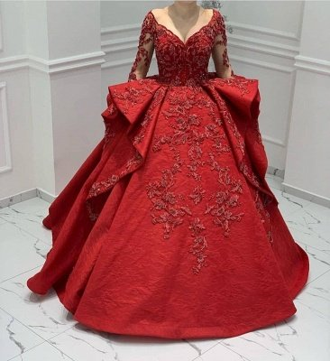 Stunning Red Jewel Long Sleeve Nude Sheer Back Embrodeiry Ruffles Ball Gown Prom Dresses_2