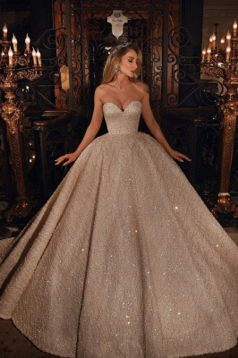 Gorgeous Sweetheart Sequin Tulle Crystal Ball Gown Wedding Dresses