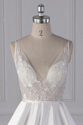 Beautiful Sleek Satin White Appliques Wedding Dresses Long_3