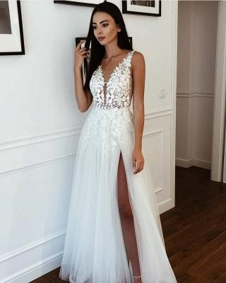 Casual Straps V Neck Applique Side Slit A Line Beach Wedding Dresses_2