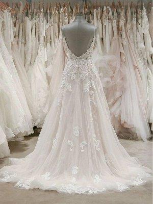 V Neck Spaghetti Strap Lace Wedding Dresses | A Line Wedding Gown_2