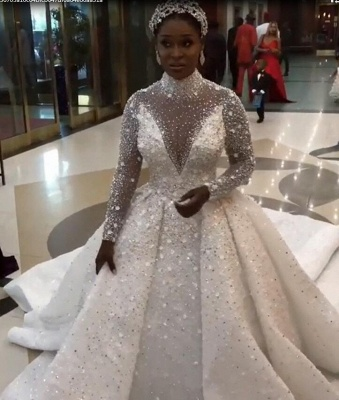 Long Sleeve Sparkly Ball Gown Wedding Dresses   Sequin Wedding Gown With Detachable Train_4