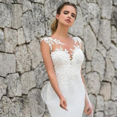 Lace Fitted Wedding Dresses | Jewel Sleeveless Sheath Bridal Gown_3