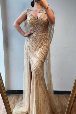 Luxury V-neck Beaded Fitted Evening Dresses | Dubai Diamond Formal Dress