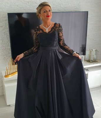 Elegant Long Sleeve V Neck Floor Length A Line Prom Dresses_2