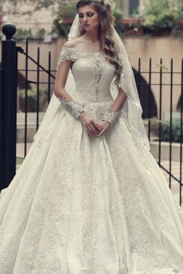 Off The Shoulder Lace A Line Wedding Dresses | Long Sleeve Wedding Gown