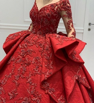 Stunning Red Jewel Long Sleeve Nude Sheer Back Embrodeiry Ruffles Ball Gown Prom Dresses_4