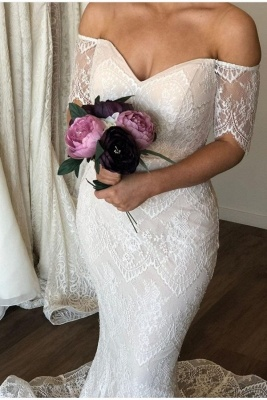 Graceful Sweetheart Off The Shoulder  Lace Mermaid Wedding Dresses   Short Sleeve Bridal Gown_1