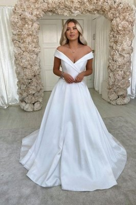 Off The Shoulder Sweetheart A Line Wedding Dress | Sweep Train Wedding Gown