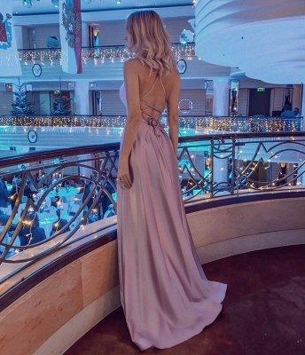 Halter Sleeveless Criss-cross Back Side Slit Floor Length Mermaid Prom Dresses_2