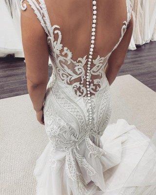 Sexy Jewel Nude Sheer Bodice Cap Sleeve Applique Mermaid Wedding Dresses_3