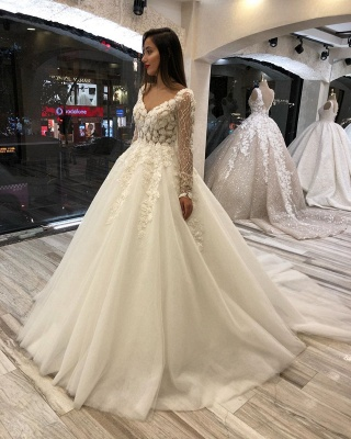 Luxurious Sweetheart V Back Long Sleeve Applique Floral Ball Gown Puffy Wedding Dresses_4
