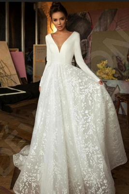 Elegant Long Sleeve V Neck A Line Wedding Dresses | Lace Wedding Gown