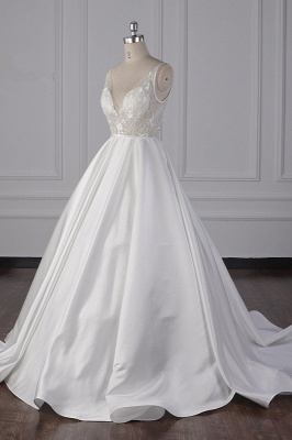 Beautiful Sleek Satin White Appliques Wedding Dresses Long_4