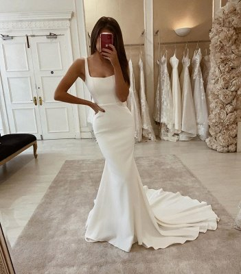 Sexy Spaghetti Strap Backless Sash Mermaid Wedding Dresses_2