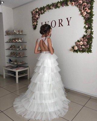 Straps Deep V Neck Ruffles Tulle A  Line Wedding Dresses_2