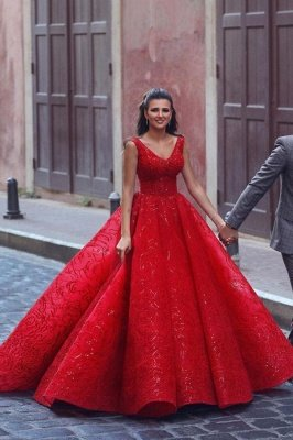 Red Straps Sweetheart Sequin Ball Gown Prom Dresses | Crystal Lace Evening Dresses