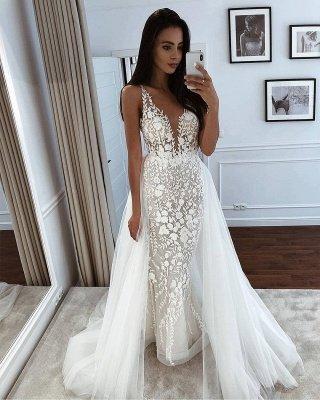 Straps V Neck Applique Lace Tulle Sheath Wedding Dresses With Detachable Train_2