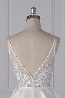 Beautiful Sleek Satin White Appliques Wedding Dresses Long_7