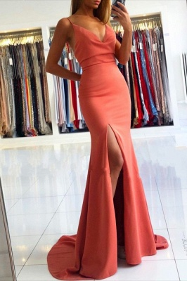 Spaghetti Strap V Neck Side Slit Floor Length Mermaid Prom Dresses