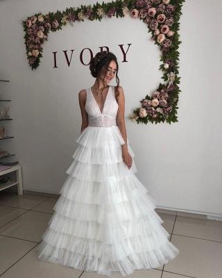 Straps Deep V Neck Ruffles Tulle A  Line Wedding Dresses_3