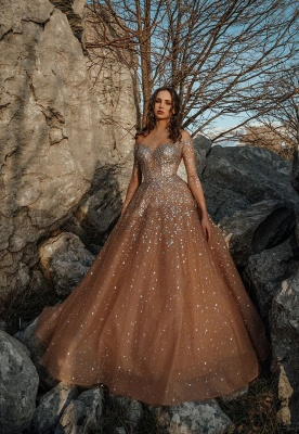 Gorgeous Champagne Long Sleeve Sequin Tulle Crystal Ball Gown Wedding Dresses_2