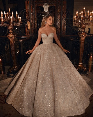 Gorgeous Sweetheart Sequin Tulle Crystal Ball Gown Wedding Dresses_2