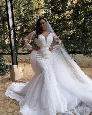 Plus Size Jewel Long Sleeve Applique Crystal Sequin Sash Mermaid Wedding dresses_2