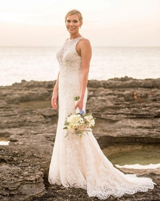 Classic Jewel Sleeveless Lace Sheath Wedding Dresses | Fitted Vintage Wedding Gown