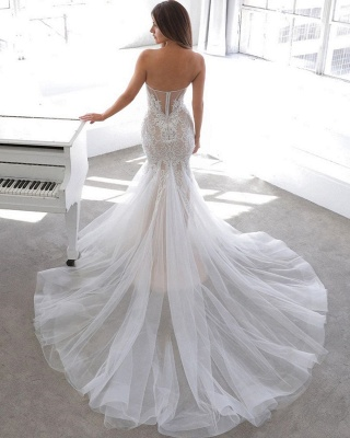 Sexy Sweetheart V Neck Backless Applique Lace Wedding Dress   Fitted Mermaid Gown_4
