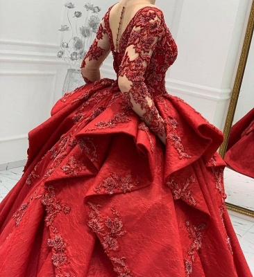 Stunning Red Jewel Long Sleeve Nude Sheer Back Embrodeiry Ruffles Ball Gown Prom Dresses_5