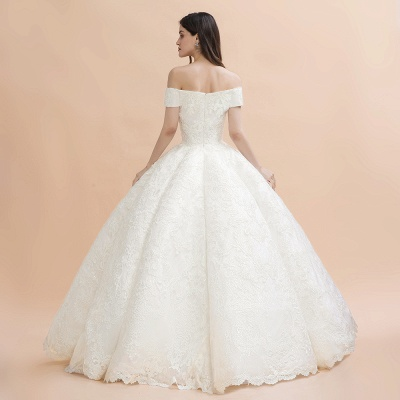Gorgeous Off The Shoulder Ball Gown Wedding Dress | Lace Backless Bridal Gown_10