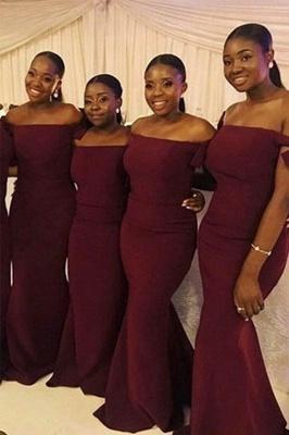 Burgundy Off The Shoulder Mermaid Bridesmaid Dresses   Floor Length Long Prom Dresses_1
