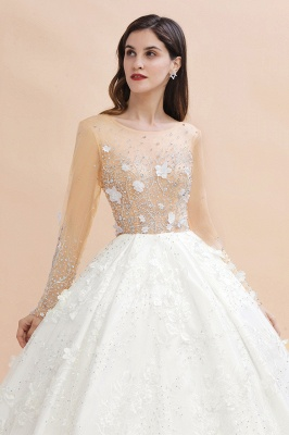 Long Sleeve Jewel Floral A Line Wedding Dresses | Crystal Beading Bridal Gown_5