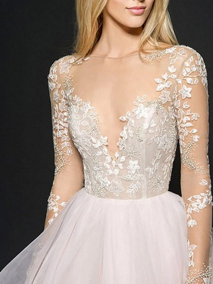 Illusion Ball Gown V Neck Organza Long Sleeve Floor Length Wedding Dresses_3