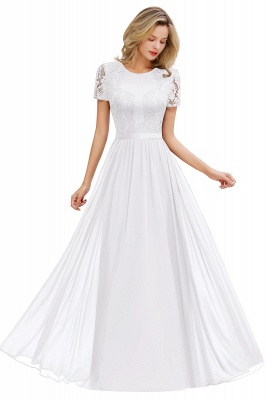 Cheap Chic A-line Chiffon Lace Bridesmaid Dress with Short Sleeves in Stock_1