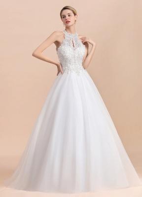 A Line Lace Chiffon Halter White Wedding Dresses Sleeveless_8
