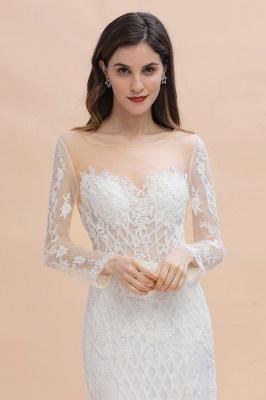 Long Sleeve Jewel Applique A Line Lace Wedding Dresses_8