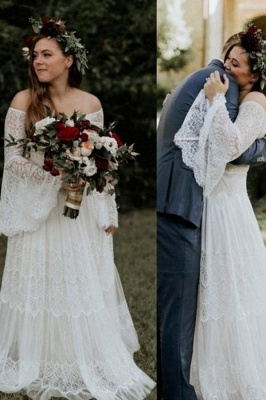 Off The Shoulder Lace A Line Beach Wedding Dresses | Bridal Gown With Long Sleeve_1