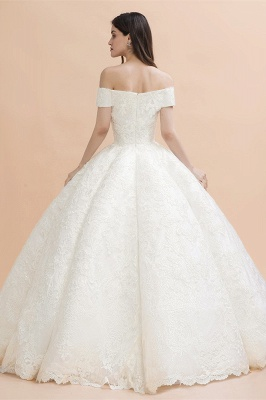 Gorgeous Off The Shoulder Ball Gown Wedding Dress   Lace Backless Bridal Gown_2