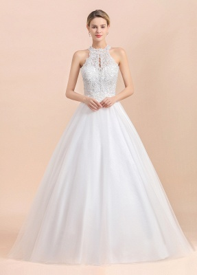 A Line Lace Chiffon Halter White Wedding Dresses Sleeveless_3