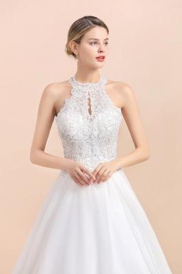 A Line Lace Chiffon Halter White Wedding Dresses Sleeveless_2