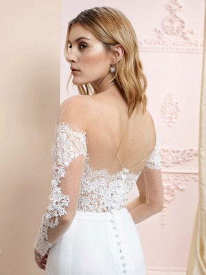 Elegant Jewel Mermaid Chiffon Lace Long Sleeves Wedding Dress with Train On Sale_4