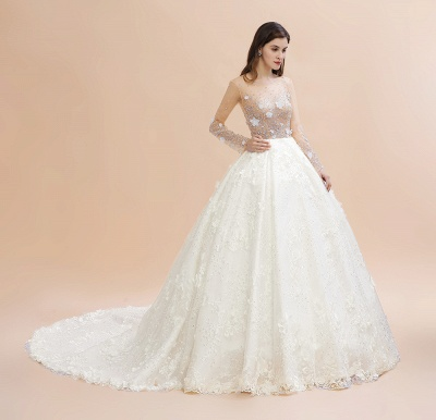 Long Sleeve Jewel Floral A Line Wedding Dresses | Crystal Beading Bridal Gown_12