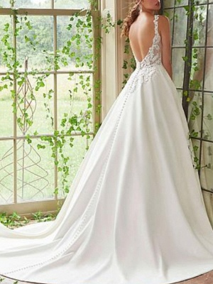 Chic A-Line Straps V-Neck Sleeveless Satin Lace Wedding Dress_2