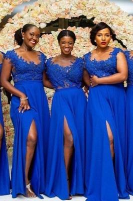 Royal Blue Straps A Line Bridesmaid Dresses | Applique Front Slit Prom Dresses_1