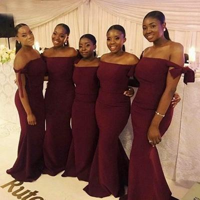 Burgundy Off The Shoulder Mermaid Bridesmaid Dresses   Floor Length Long Prom Dresses_3
