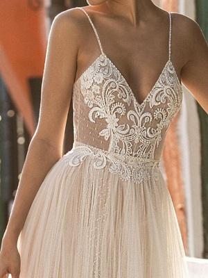 Sexy A-Line Spaghetti Straps Tulle Lace Sleeveless Wedding Dress_3